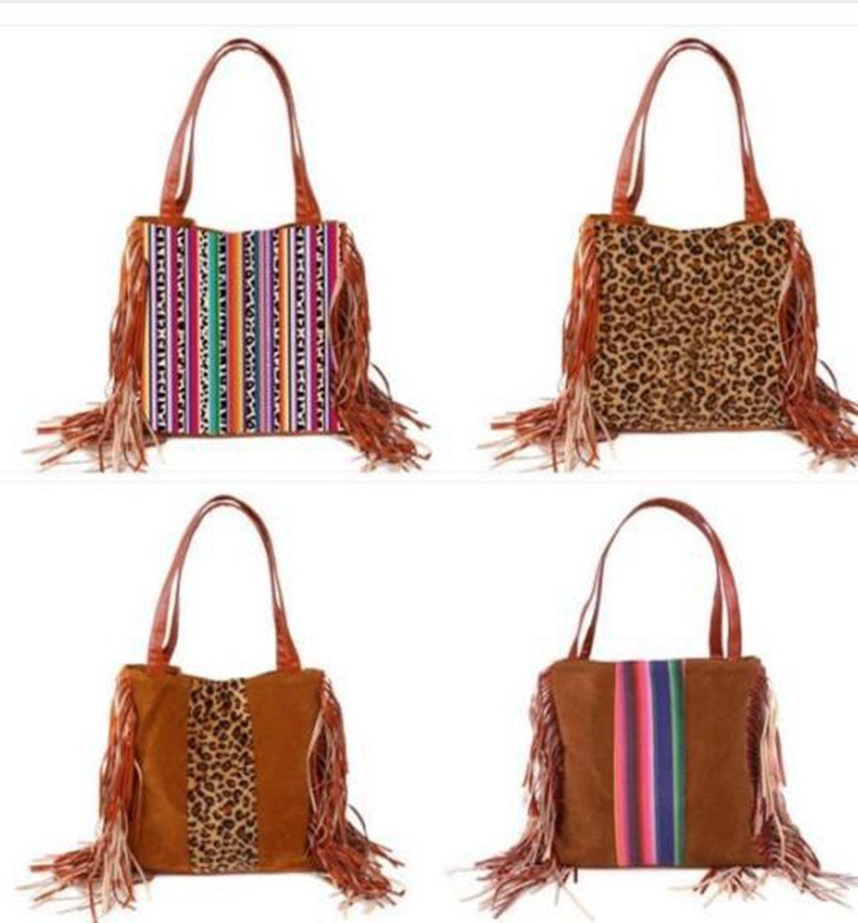 Leopardo Fringe Messenger Saco Listrado Patchwork Borla Crossbody Bag Mulheres Hippie Tassel Bolsa Festa Favor Ljja3674-13