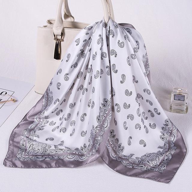Шелковый шарф площади Женщины печати Лето Платки шарфы диапазона волос шаль NEON Lady палантины Мода Бандана пашмины