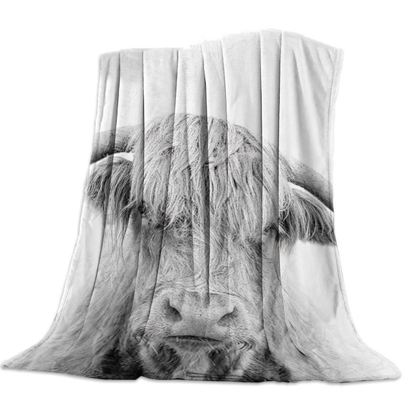 Animal Close-up bianco e nero modello Altopiano Bull panno morbido della flanella letto manto Copriletto Coverlet Bed Soft Cover coperte calde