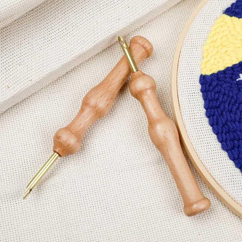Bricolage pratique tricot broderie aiguille Téméraire Grand Craft Couture Accessoires Poignée poinçon en bois pratique tissage outil