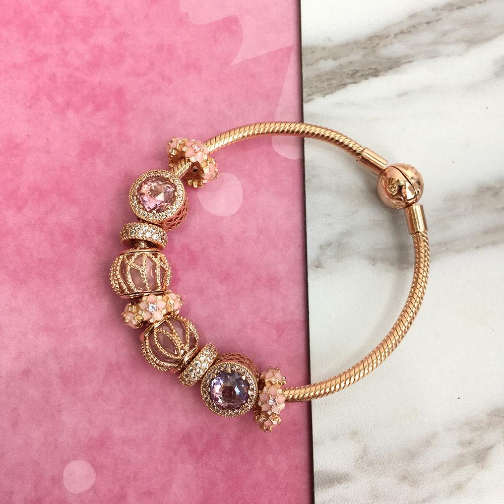 2021 New 925 Silver Rosegold Charm Bracelet Set Fit Pandora Ale ...