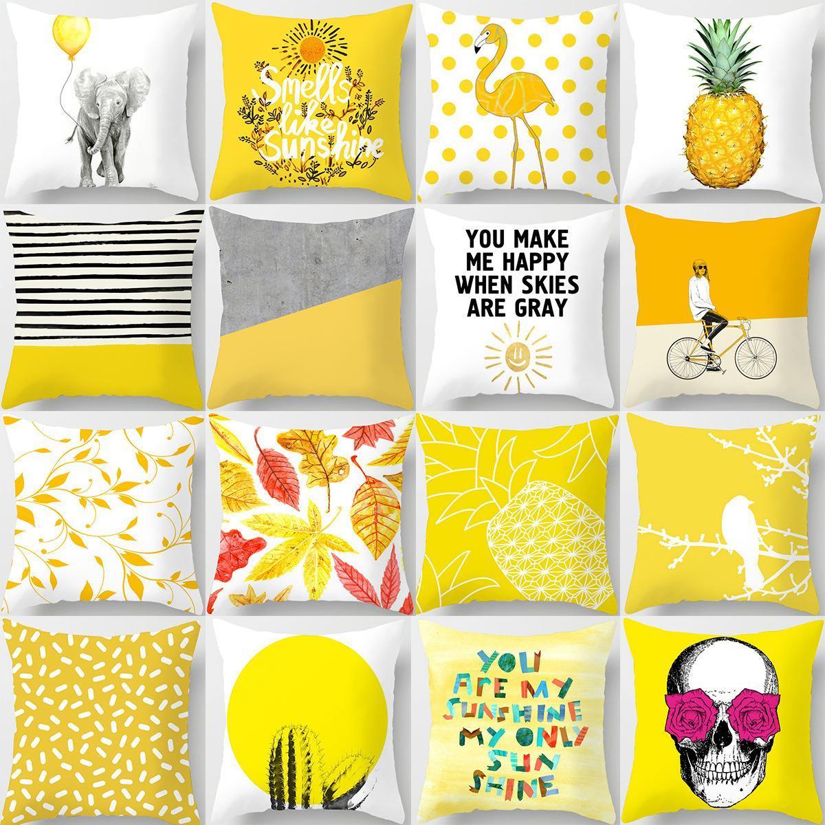 45x45cm Sarı Çizgili Yastık Geometrik Atma Yastık Yastık Kapak Baskı Yastık Yastık Kılıfı Yatak Odası Ofis Dekoru RRA2903 32styles