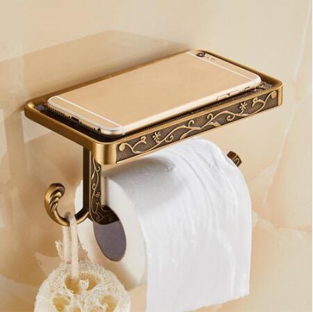 Tallado de aleación de zinc titular de baño de la antigüedad del papel de teléfono móvil con Cajas de tejidos plataforma de baño estante de toalla de papel higiénico Titular