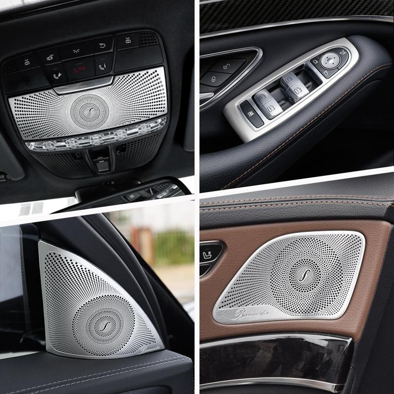 Car Audio altavoz interno de la puerta Cambio de marchas Puerta panel de la cubierta Apoyabrazos etiquetas de recorte para Mercedes-Benz Clase S W222 2014-19 Accesorios