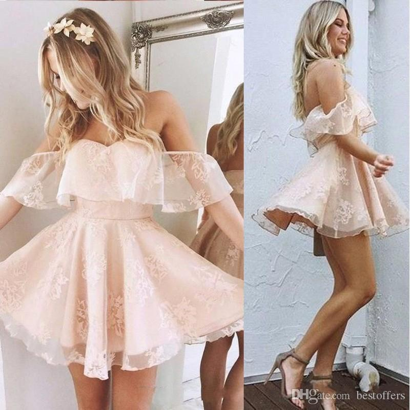 Stunning Off Shoulder Lace Pink Homecoming Dresses Little Short A Line Pleats Mini Cocktail Gowns Backless Graduation Dress