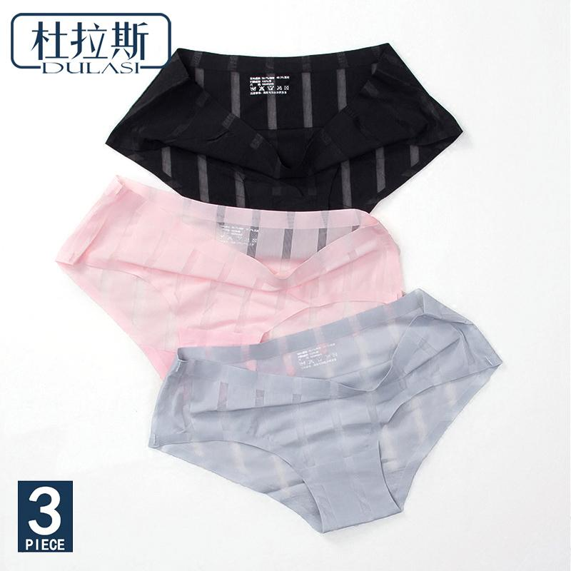 Sexy Panties Women Underwear Seamless Briefs Lace Nylon Striped Transparent Cotton Ladies Pants Brand Lingerie DULASI 3pcs lot