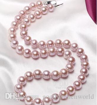 Schnelles freies Verschiffen Feine Perlen-Schmucksachen 9-10 Millimeter runde natürliche Südsee Lila Perlenhalskette 18inc 925 silve