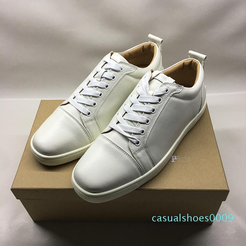 chaussures de créateurs de haute qualité pour les femmes de l'homme fond en rouge mode en cuir véritable Junior Spikes plates des chaussures de ville de paris avec boîte C09