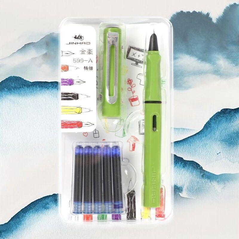 Jinhao 599a Fountain Pen Set Pen calligraphie Dolma Kalem Pluma étudiant avec sac amovible d'encre garçons et filles Beau cadeau