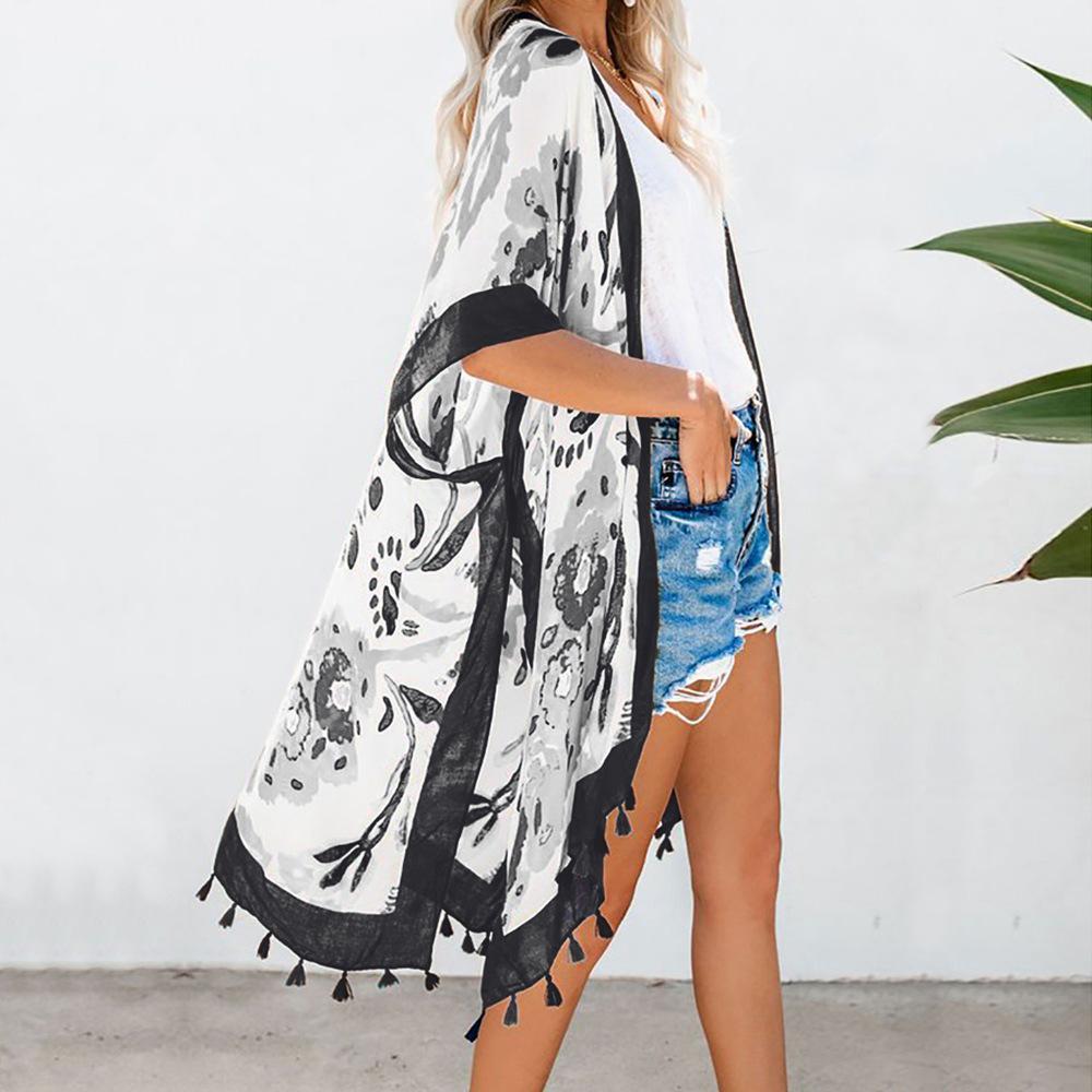 Yeni Baskılı Plaj Ceket Bayan Orta Boy Hırka Gevşek-Fit Plaj Güneş Koruyucu Giysi Fringe-Trim Kimono Bluz