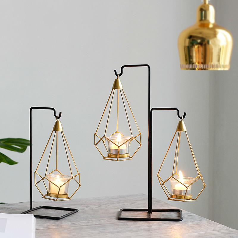 Nordic Style Wrought Iron Round Candle Holder Candlestick Desktop Decoration