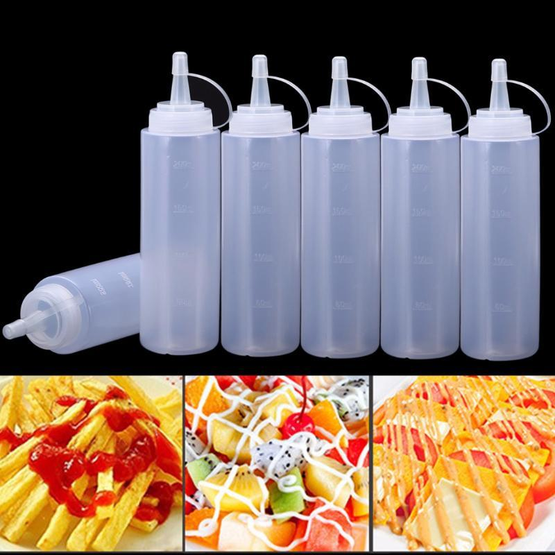 Бутылки для хранения JARS 6 шт. Прозрачный кетчуп Диспенсер 8OZ / 240 мл кухня Пластиковый сжатый Бутылка горчицы Диспенсеры Cruet Mayit