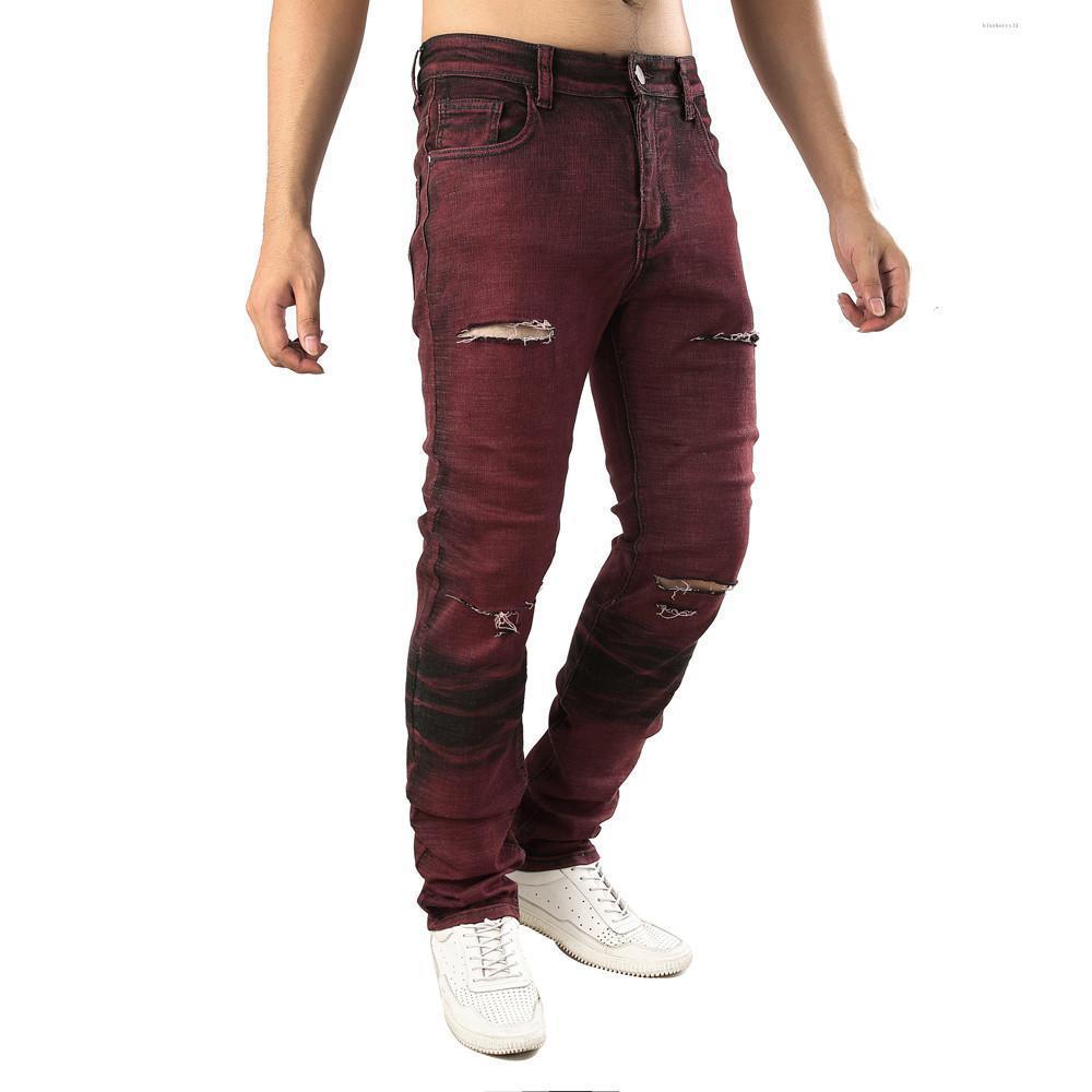 Nuovi Mens casuali Autunno Denim Cotton Etero strappato foro Pantaloni Jeans Pantaloni jeans strappati per gli uomini Asiatica Misura