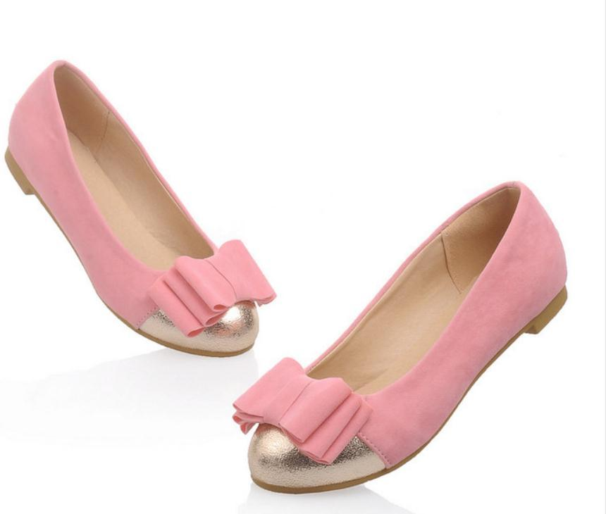 2020 La primavera y el otoño con el nuevo plano de la moda estilo de la cabeza de fondo redondo bowknot zapatos de gamuza de las mujeres @ ZEHNM02