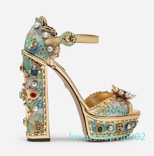 Calde di vendita-trasporto 2019 signore diamante tacco alto aperti pigolio-punte europeo americani SANDALI palazzo scarpe blu 35-42