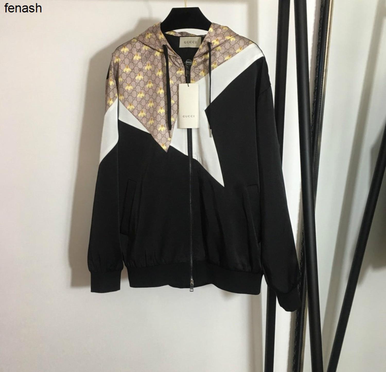 déesse nouvelle mode couleur noble lettre blocage à manches longues manteau à capuchon à glissière extérieure veste 040501
