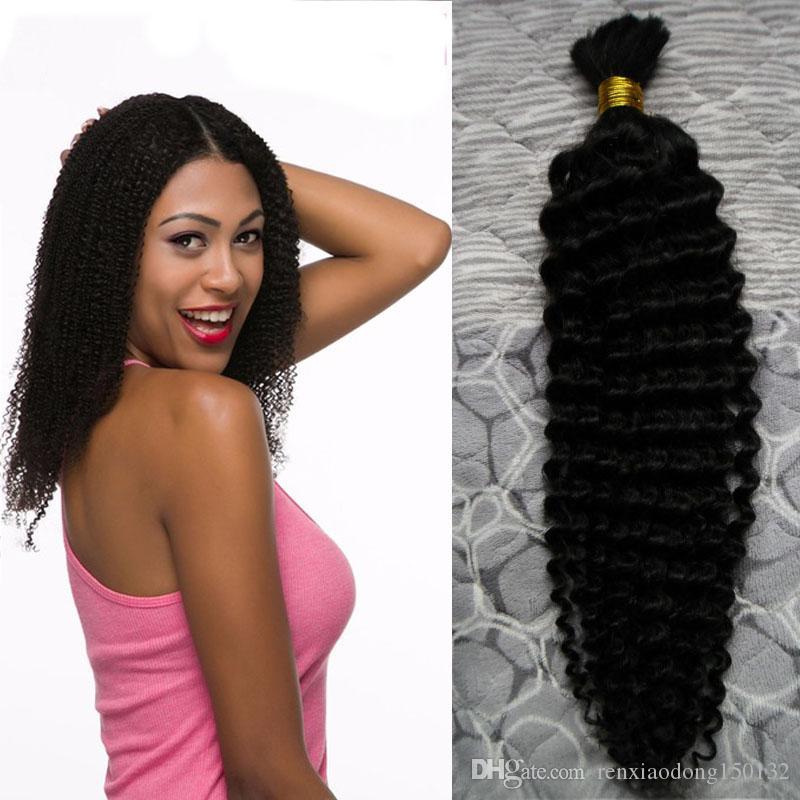 10-30 인치 인간의 머리카락을 크로 셰 뜨개질 대량 브라질의 머리카락 번들 100 % 브라질의 깊은 곱슬 100g 인간의 머리카락을 묶어 뭉치 없음 번들