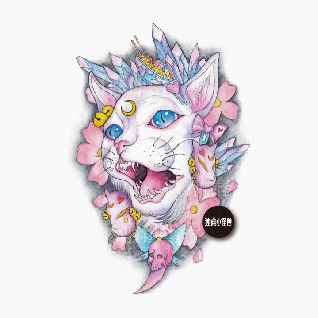 zLNzA littlehand-painted cat God Ukiyo-painted hipster tattoo sticker Japanese Cat Tattoo paste Crystal body stick Crystal Girl Flower arm w