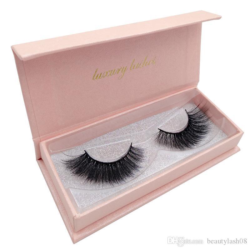 1 paire de maquillage faus cils 3d vison faux cils extension de cils 17mm avec boîte d'emballage 7 spécifications cils optionnels