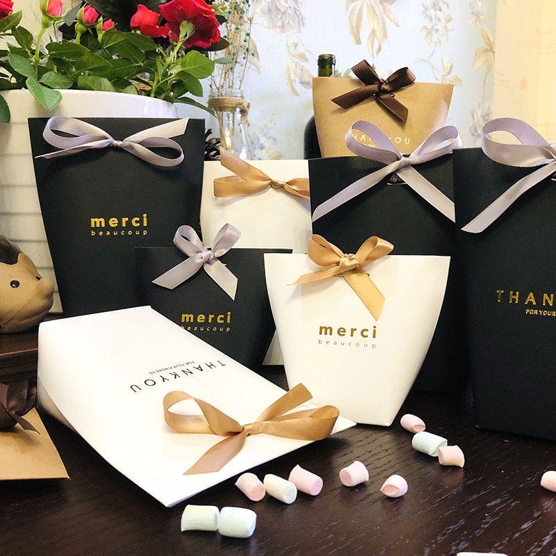 حقيبة حلوى ميرسي الفرنسية شكرا لك عرس الحسنات هدية مربع الراقي أسود أبيض البرنز الزفاف تفضل هدية مربع