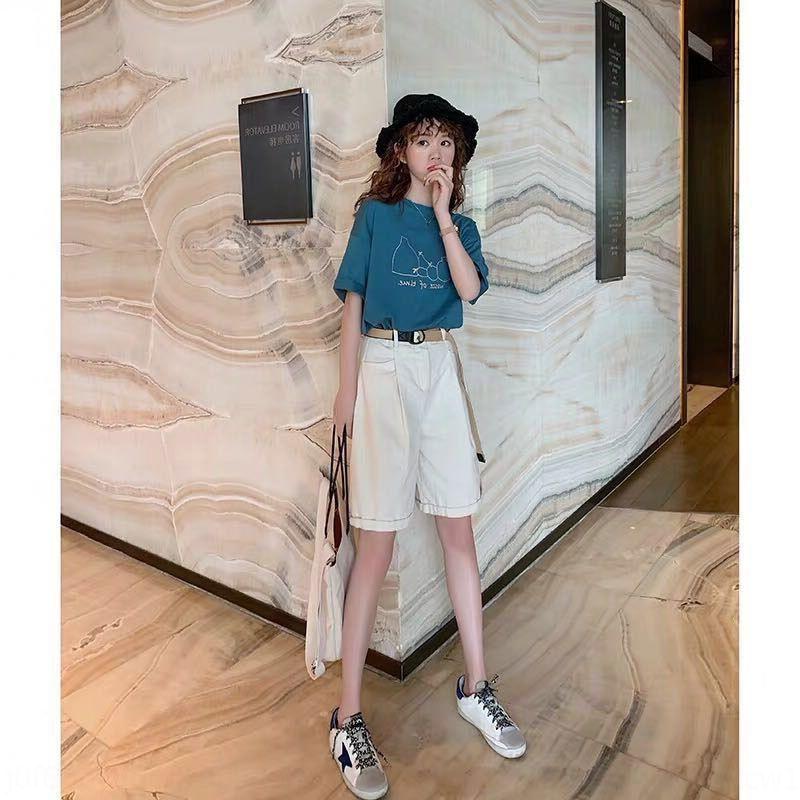 UE6v7 dril de algodón de 2020 del verano nuevas pequeña de dos piezas de alto perfil de estilo de celebridades jóvenes de amplio pantalones pantalones de pierna ancha de Internet pantsShorts z2Q2e