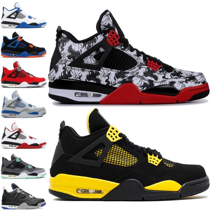 Лучшее качество 4 4s баскетбол черный кот белый цемент татуировки игры Royal Thunder спортивная обувь дизайнерские мужские кроссовки 36-46