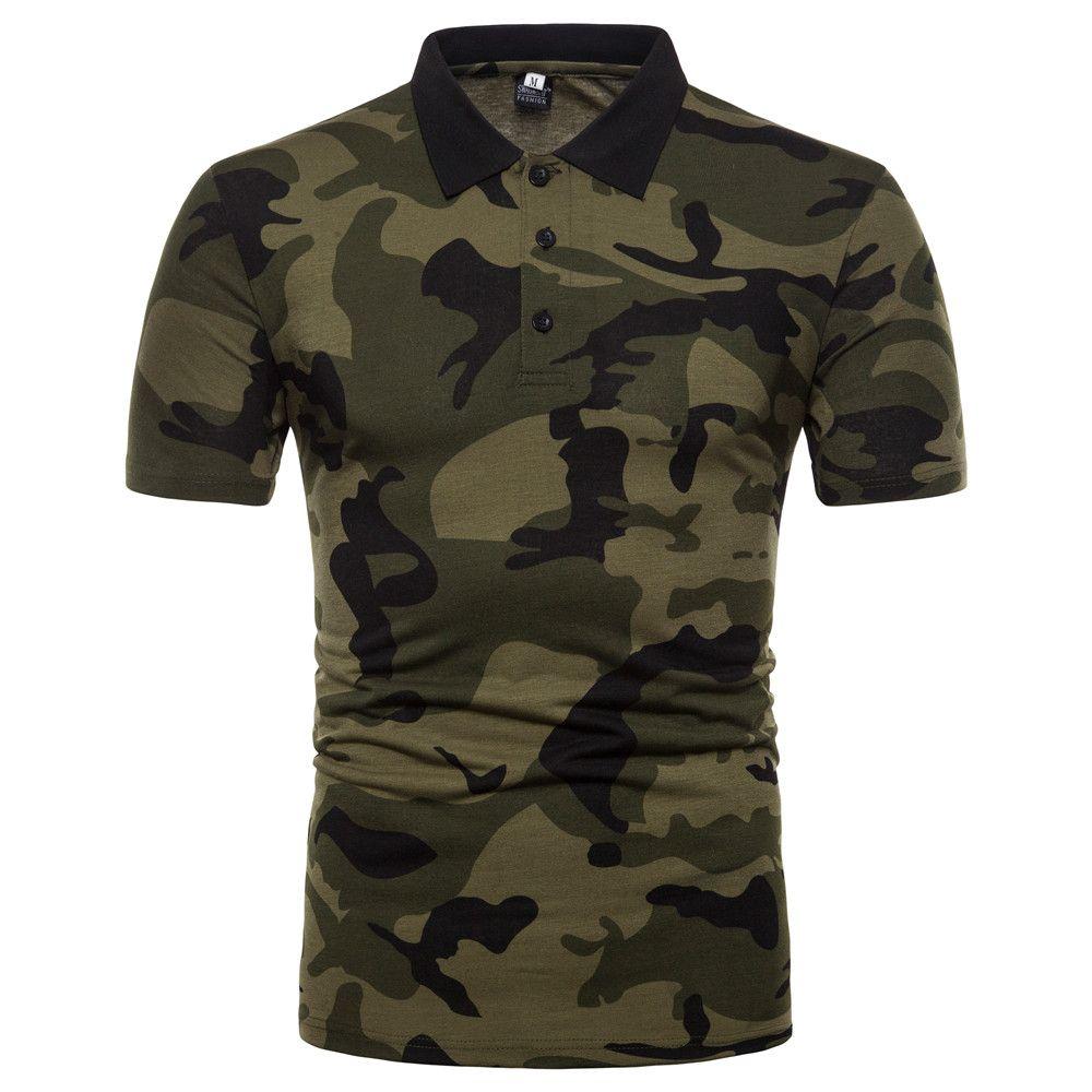 Estate casuale Camicia a maniche corte uomini di miscele del cotone Camouflage Slim dell'esercito Grigio Verde couverture colletto della camicia maschile BINHIIRO
