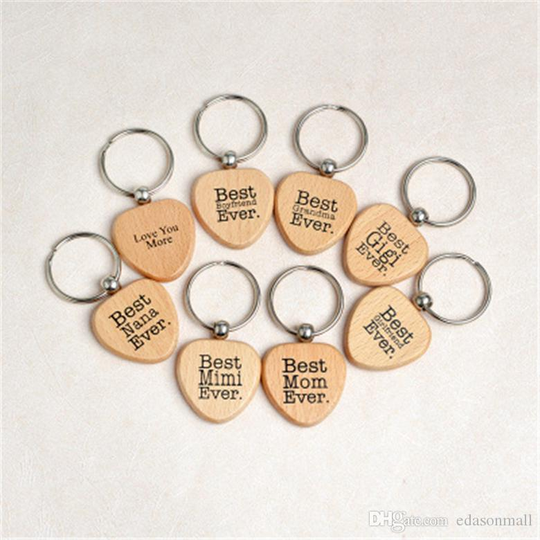 Heart Wooden Key Chain DIY Promotion Customized Wood Keychains Key Tags Promotional Gifts Best Girlfriend Ever Car Keyring Accessory M229Y
