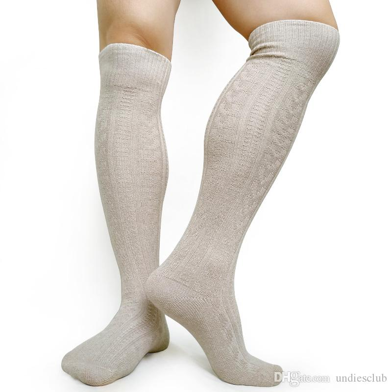clearance sale reasonable price coupon codes 2019 Knee High Mens Socks Knit Winter Warm Long Socks For Men Business Hose  Sexy Woven Cotton Male Gay Socks For Collection From Undiesclub, $7.3 | ...
