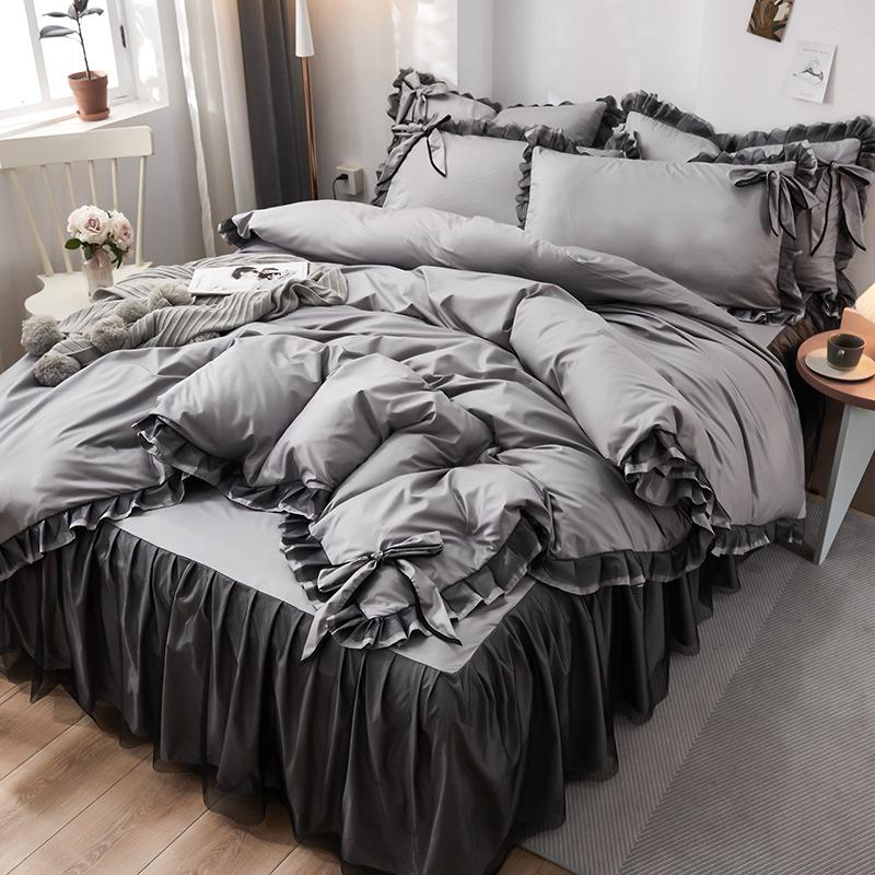 Net red explosion models bed four-piece washed silk embroidery bedding princess wind ice silk four-piece set