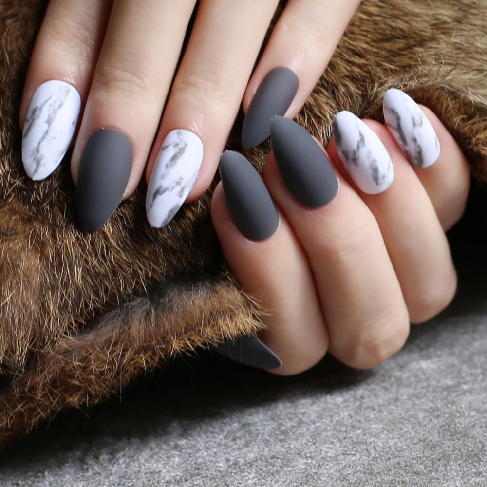 Dark Gray Matte Nails Marble Fake Nail Customized Wedding Nails Pink DIY  Stiletto False Red Medium Jazz White Marble Black Fake Toenails Gel Nail