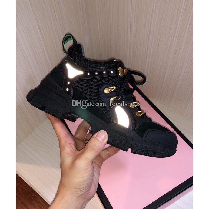 FlashTrek diamant Sneaker Chaussures Femme réfléchissant Espadrilles Mesh Casual Shoes en cuir de luxe Designer FlashTrek Sneakers Vintage Shoe