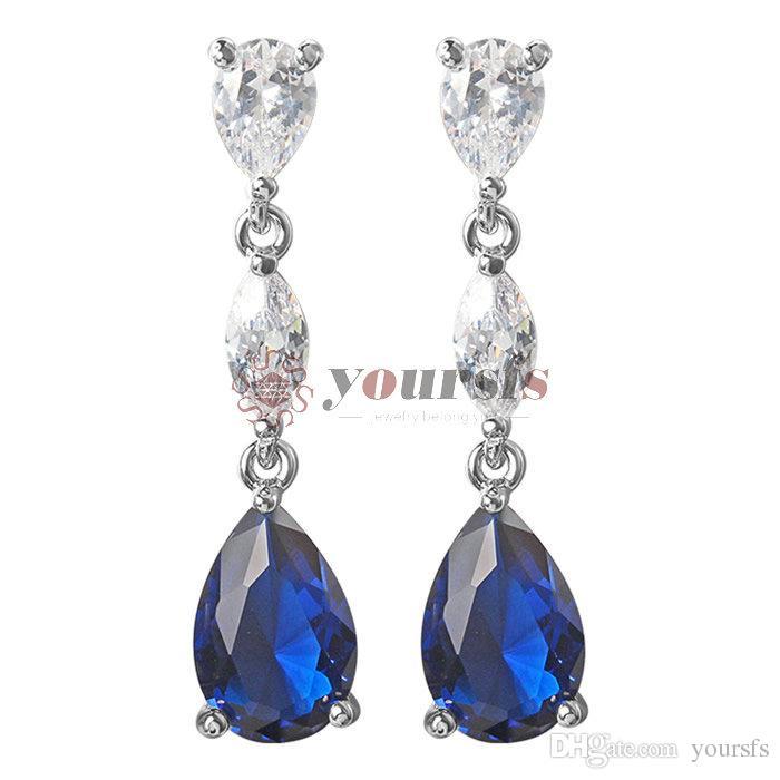 White Sapphire Women White Gold Filled Ladies Teardrop Dangle Earrings Wedding