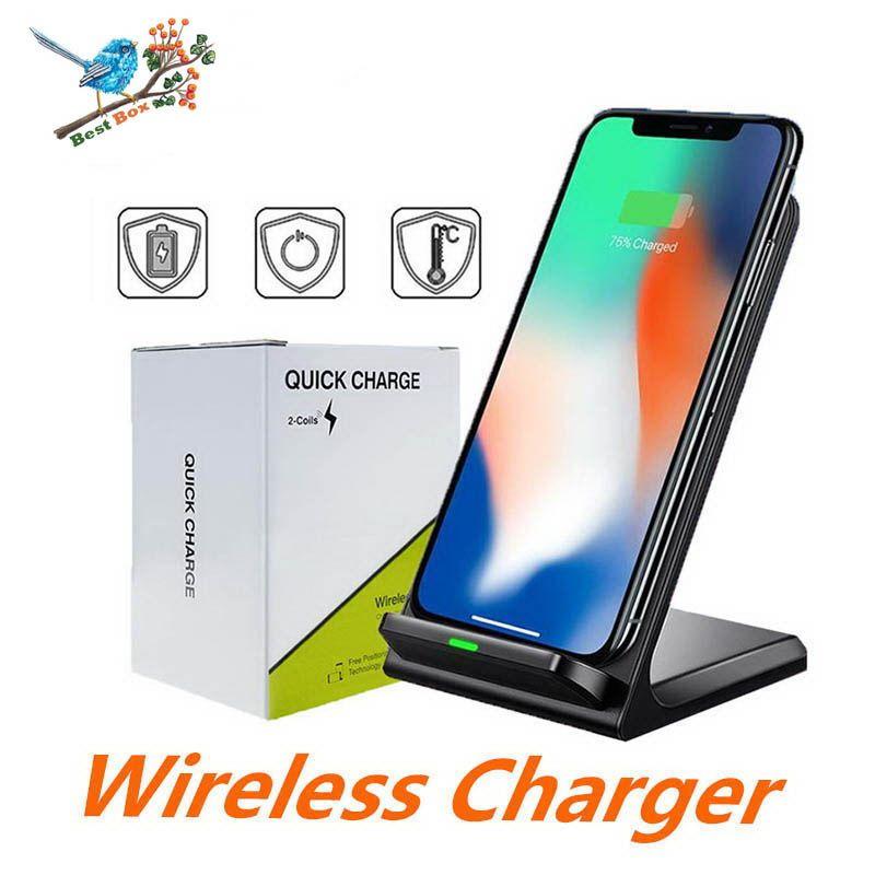Double Bobines rapide Qi de charge sans fil Pad Stand pour iPhone X 8 8 Plus Samsung Note 8 S8 S7 tous Qi compatible Smartphones
