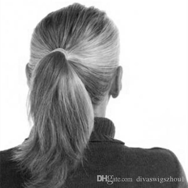 Elegante cabello gris plateado cabello humano cola de caballo envuelto alrededor de tinte sin brillo natural hightlight sal y pimienta cabello gris cola de caballo color gris claro