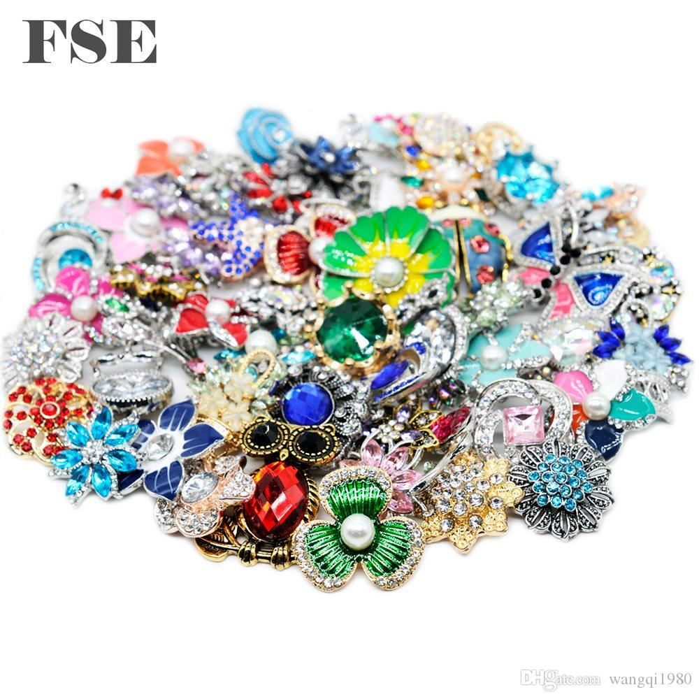 Vente en gros la meilleure collection mixte Styles Lot 18mm Bouton Top Styles Ginger snap strass snap Charms Chunk Pour 18-20mm Bijoux snap