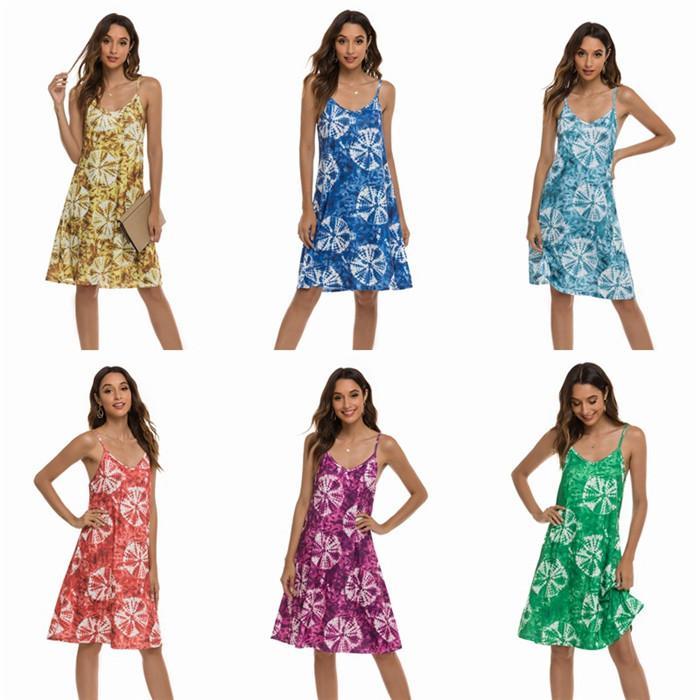 여성 꽃 스파게티 스트랩 드레스 여름 새로운 무릎 길이 캐주얼 드레스 여성 패션 스타일 의류