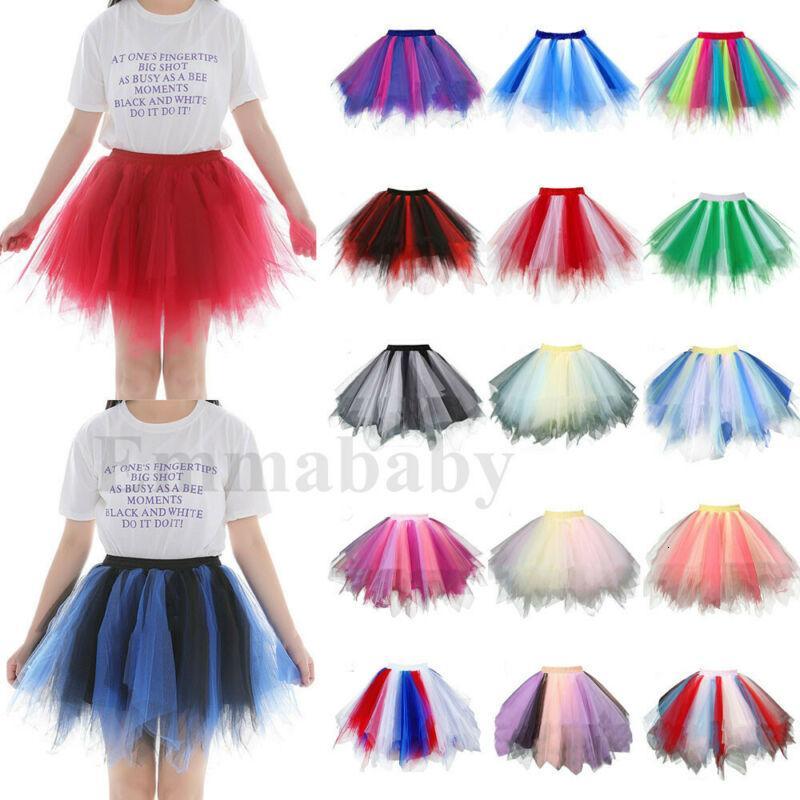 Interprète Jupe plissée Tutu adulte Gaze couleurs Jupe courte Femmes Filles arc-en-Tulle Imprimer Princesse Party Jupes de danse