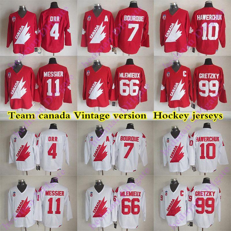 Equipo Canadá Versión Vintage Jerseys 99 Gretzky 4 Orr 66 Mlemieux 7 Bourque 11 Messier 1O Hawerchuk CCM Hockey Jersey