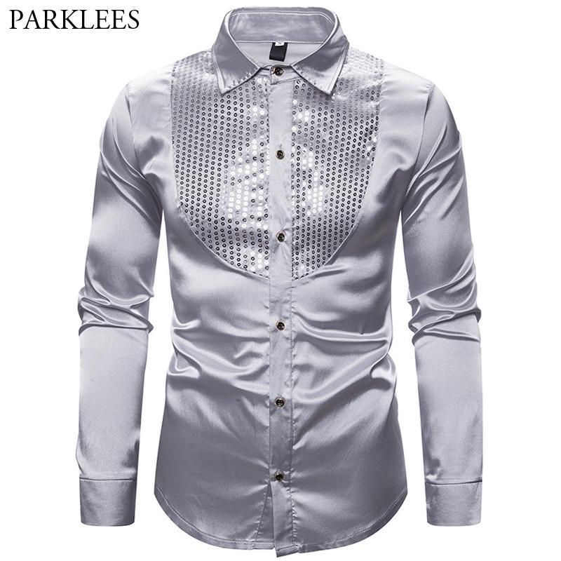 Silver Shirt Mens Silk Satin Men Dress Shirt Smooth Comfortable Men Tuxedo Shirts Wedding Party Dance Prom Long Sleeve