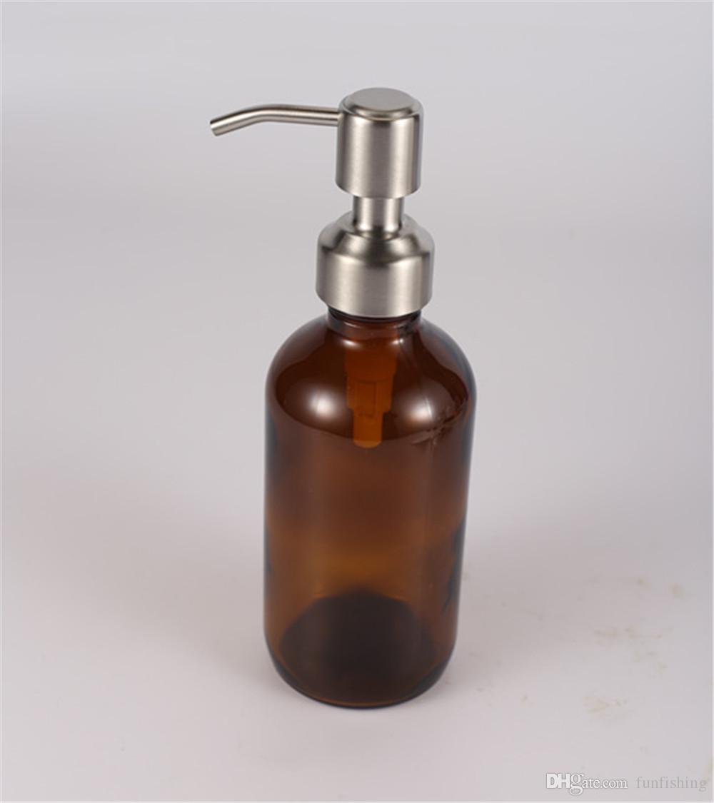 Alta qualità 28/400 erogatore di sapone per mani in acciaio inox Top per bottiglia di ambra dispenser di sapone per sapone da banco vaso non incluso