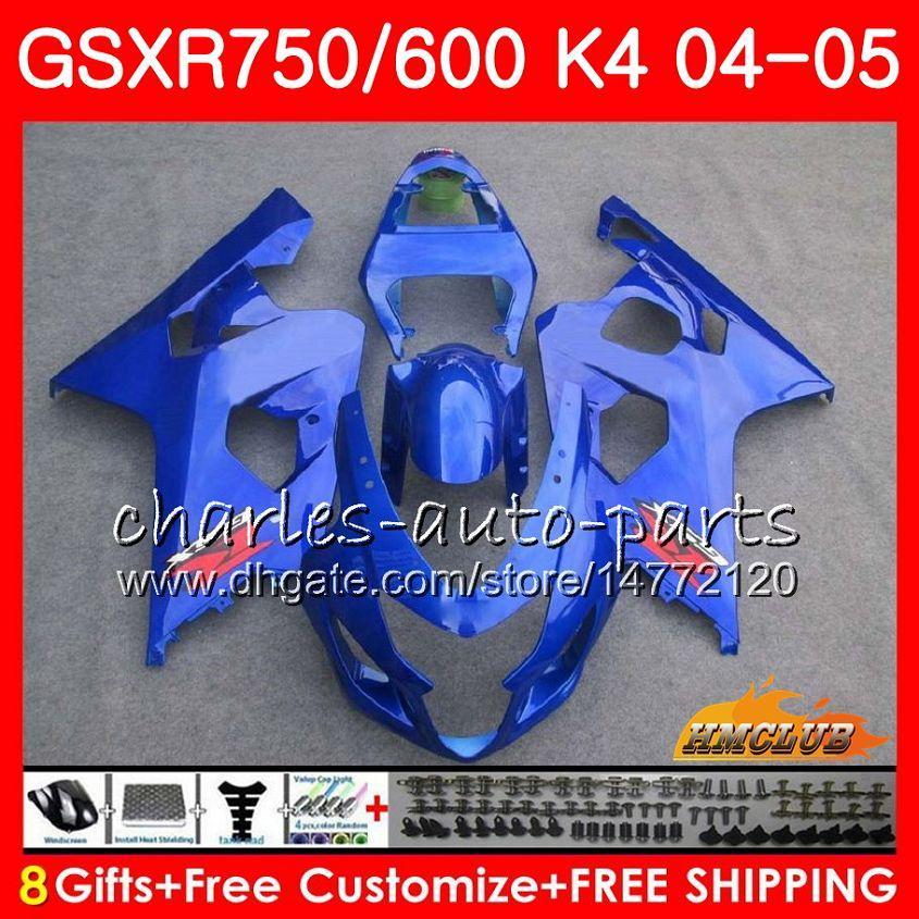 Bodys For Suzuki GSXR 750 GSX R600 R750 GSXR600 2004 2005 7HC.34 GSXR 600 GSXR-750 04 05 GSX-R600 K4 GSXR750 ALLE GLOSSY BUE 04 05 VALERINGEN