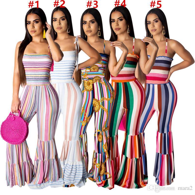 Frauen Overalls Strampler stilvolle Spaghettibügel Ausgestellte Hosen gestreift ärmellos in Kontrastfarbe Sommerkleidung plus Größe 712