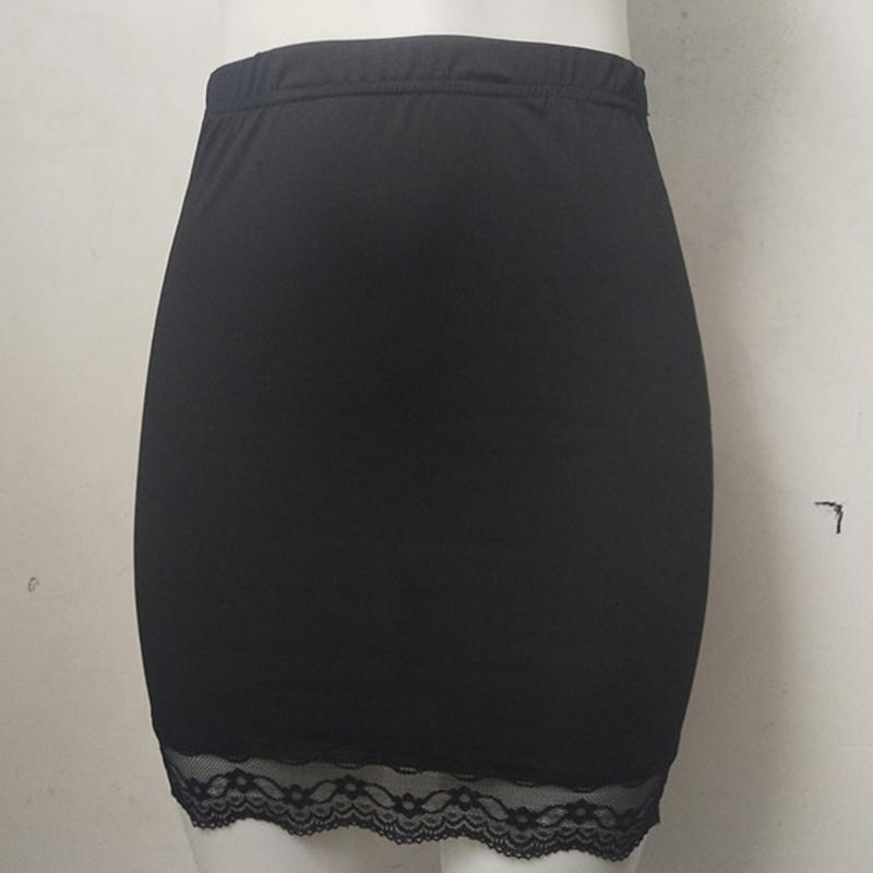 Seda de la leche del verano sólido de alta cintura del remiendo del cordón de la falda de las mujeres elegantes de la cadera muchachas de la falda ocasional del lápiz llano señora de la oficina