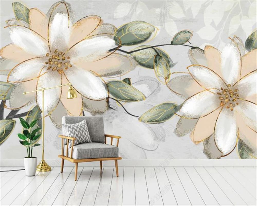 3D Photo Fond d'écran Peinture européenne Rétro pastorale fleurs peintes à la main Résumé fond mur décoratif HD Belle Fond d'écran