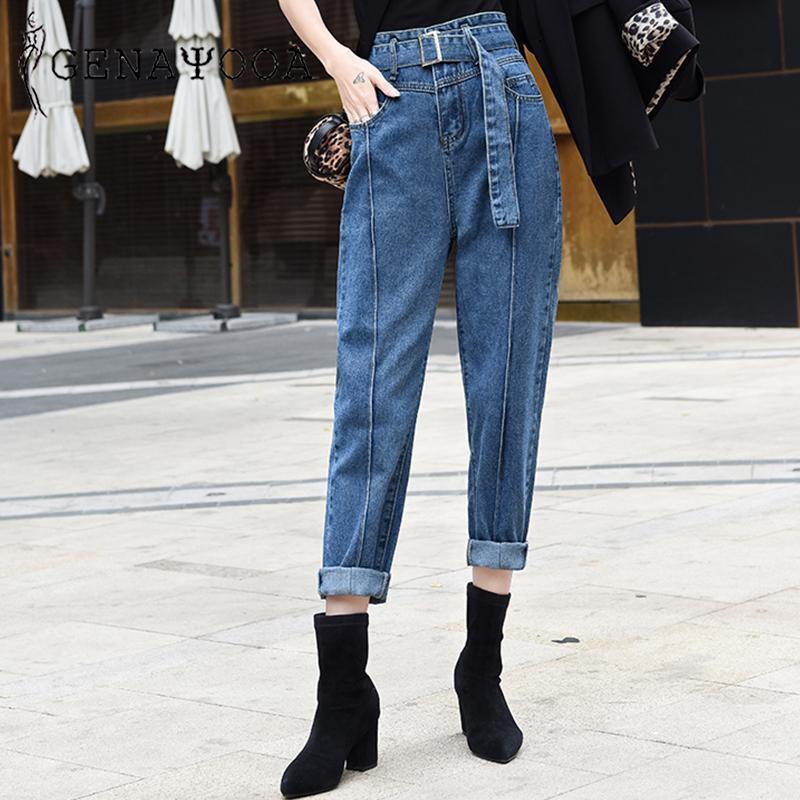 Genayooa Винтажные джинсы Женщина Casual высокой талией джинсы Streetwear Boyfriend Для женщин джинсовой брюк с карманом