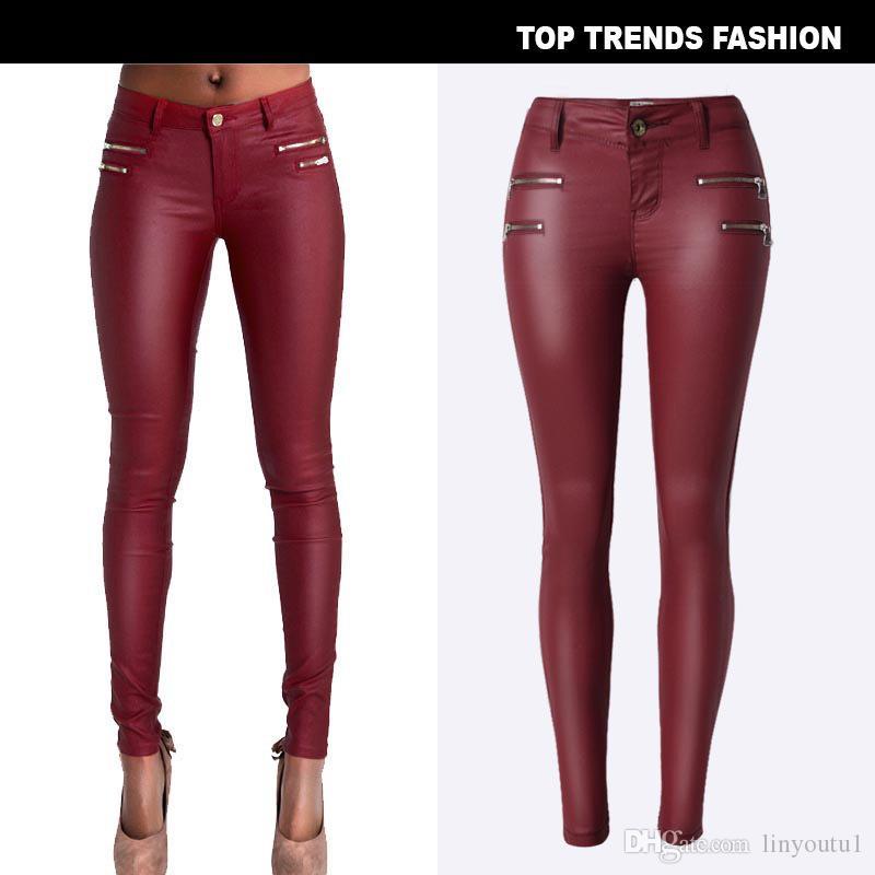 Yeni Moda kadın Düşük bel Elastik Kalem Pantolon Pantolon Seksi Sıkı PU Kaplama Artı Boyutu ile taklit Deri Pantolon
