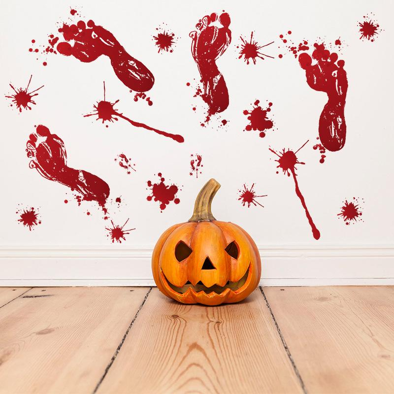 Halloween Wall Stickers Floor Bloody Footprint Handprint Glass Window Sticker DIY Room Decoration Home Decoration for Halloween 30*45CM