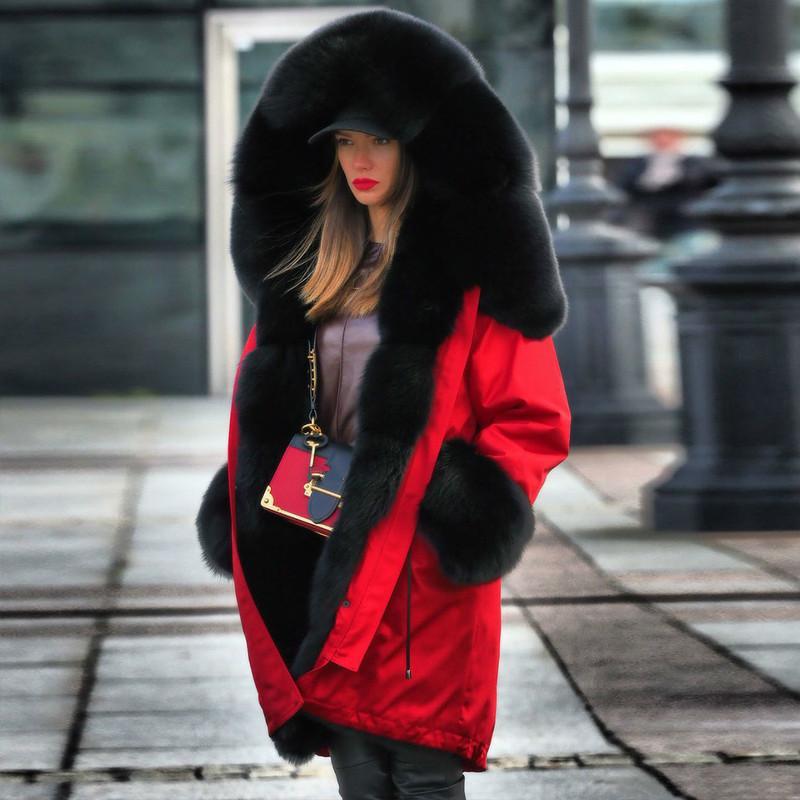 2019 heißen Verkauf-elegante Winter-Frauen warme Mantel-Hauben-Mantel Haar Kragen Parkas H2008