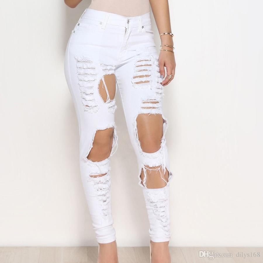 2020 di modo womans vestiti delle donne del progettista dei jeans delle donne a Vita Alta jeans Plus Size donna semplicità femme Jeans Strappati made in china 41714
